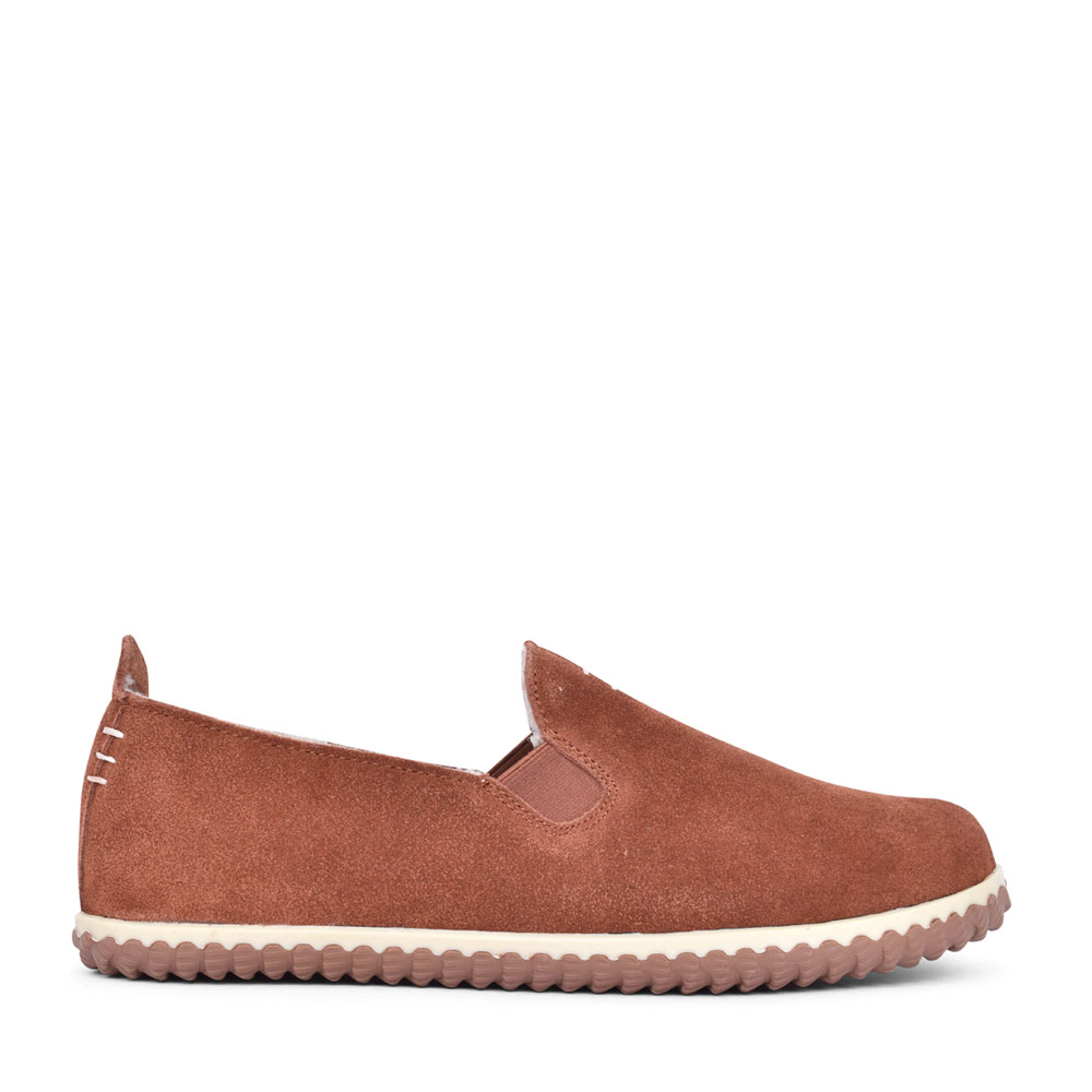 MENS HOME CHEER SUEDE G FIT FUR LINED SLIPPER in TAN