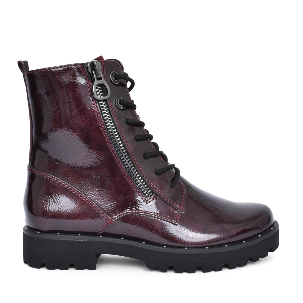 LADIES 2-25224 LACED & ZIP PATENT ANKLE BOOT in BURGANDY