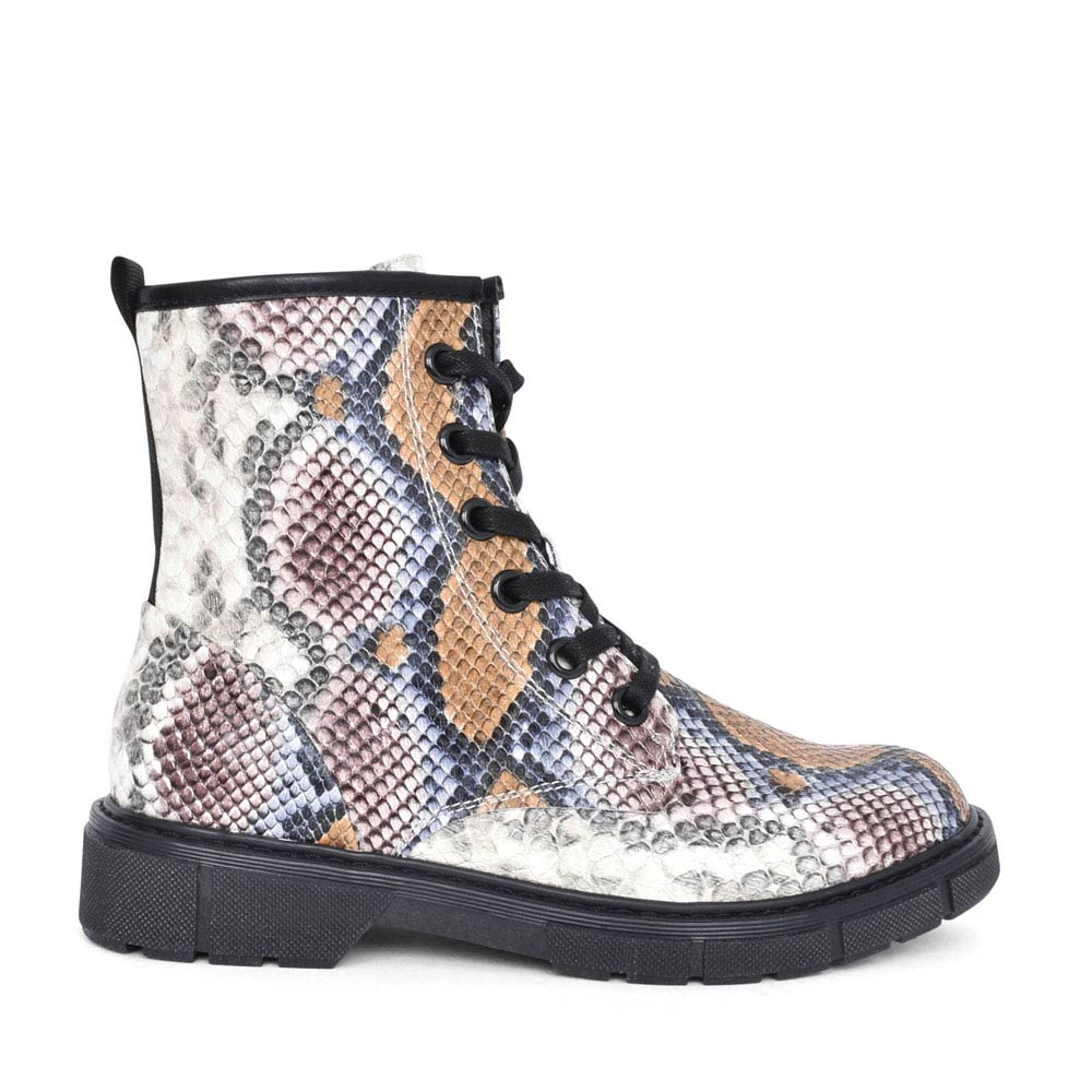 LADIES 2-25719 LACED SNAKE PRINT ANKLE BOOT in MULTI-COLOUR