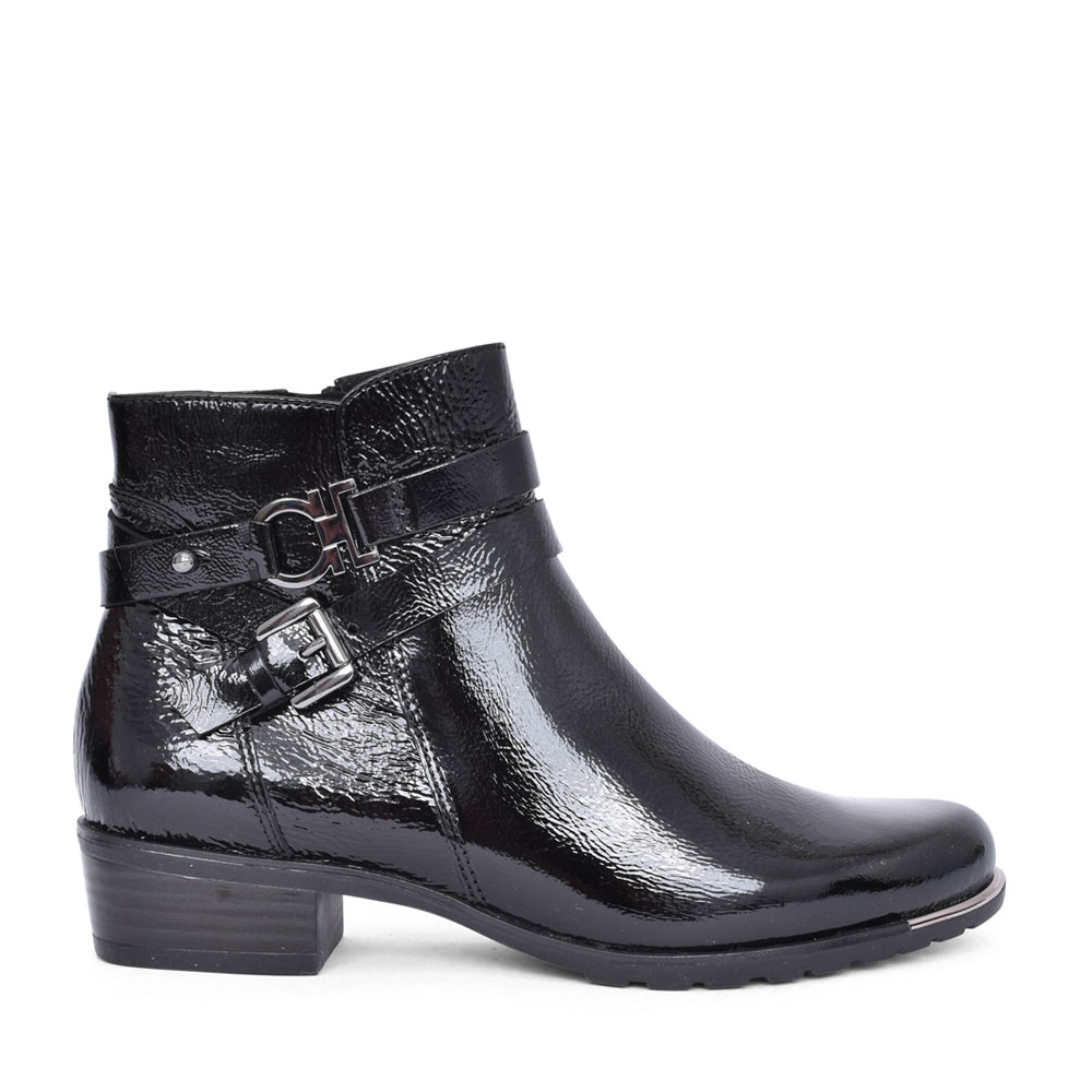 LADIES 9-25309 LOW HEEL ANKLE BOOT in BLK PATENT