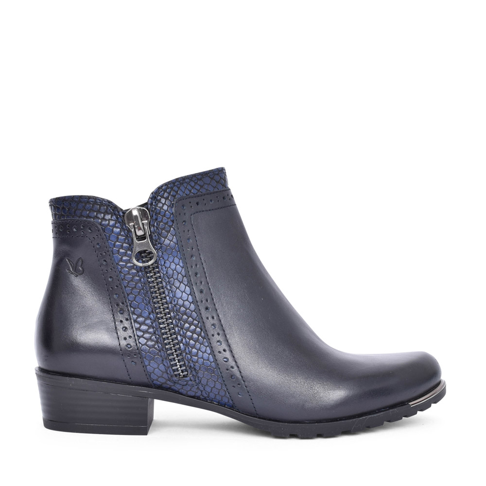 LADIES 9-25403 LOW HEEL ANKLE BOOT in NAVY