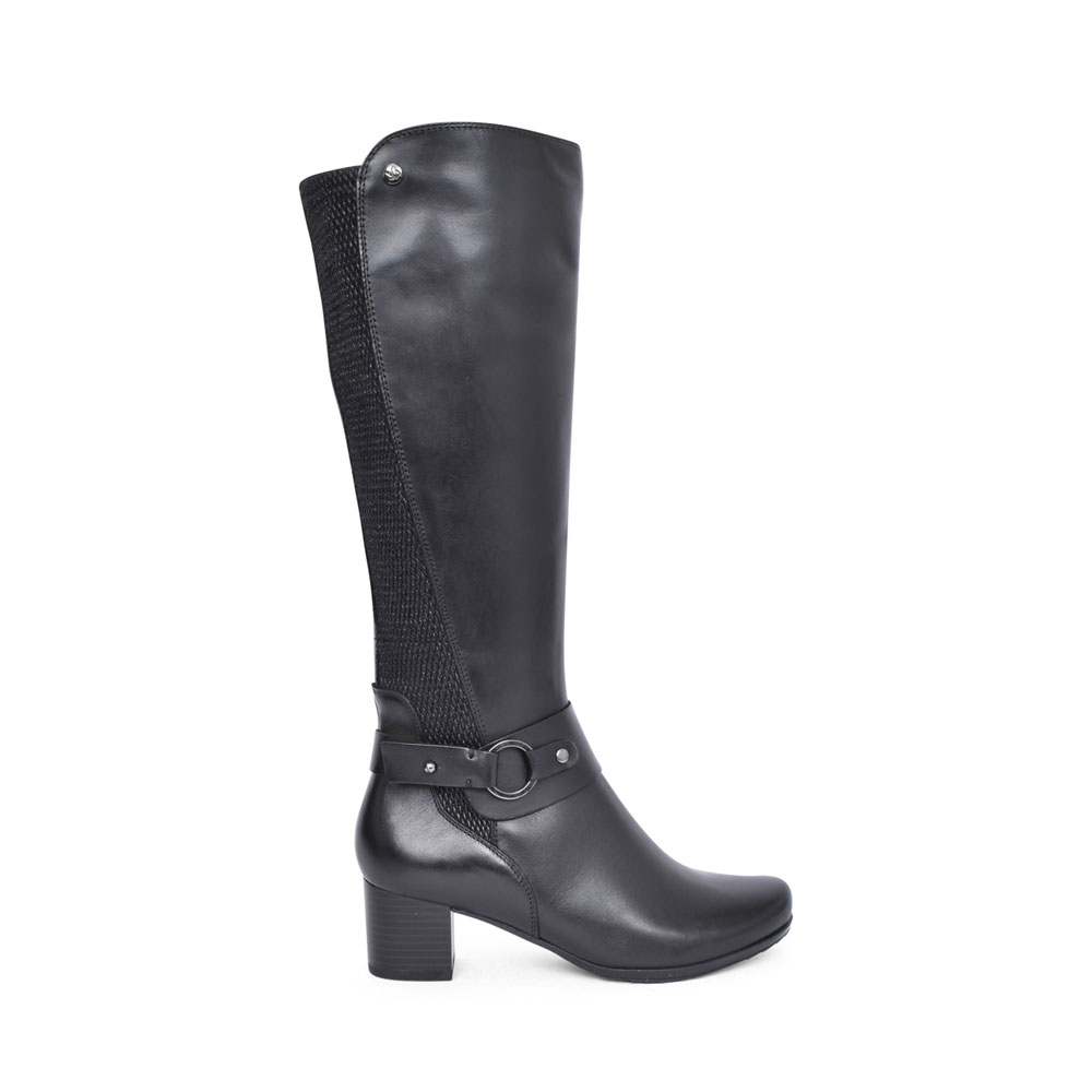 LADIES 9-25529 LOW HEEL LONG LEG BOOT in BLACK