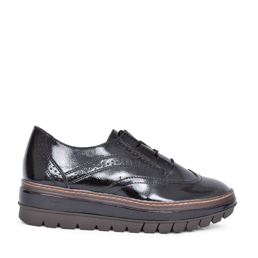 LADIES 1-23756 LACED BROGUE STYLE WEDGE SHOE in BLK PATENT