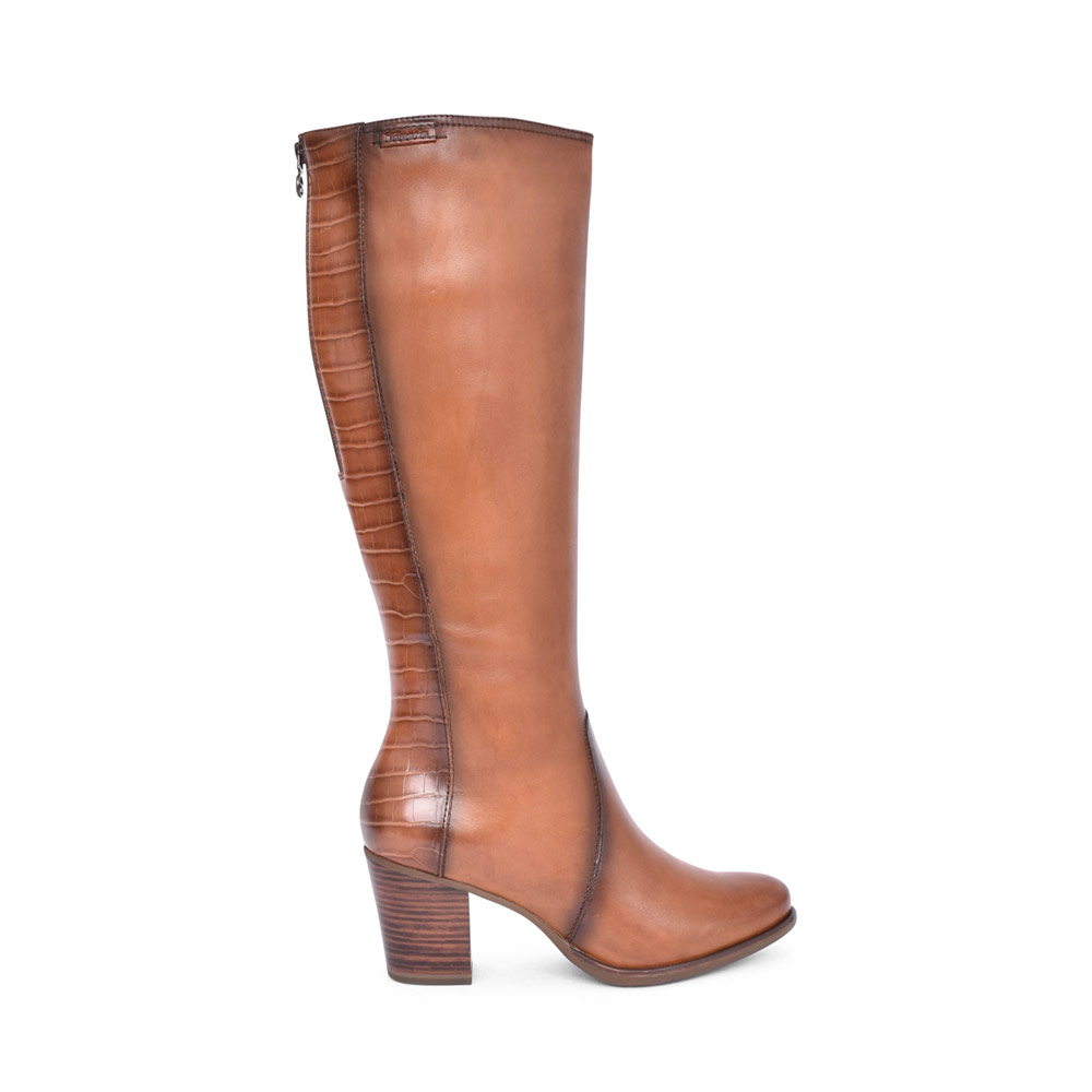 LADIES 1-25521 MEDIUM HEEL LONG LEG BOOT in TAN