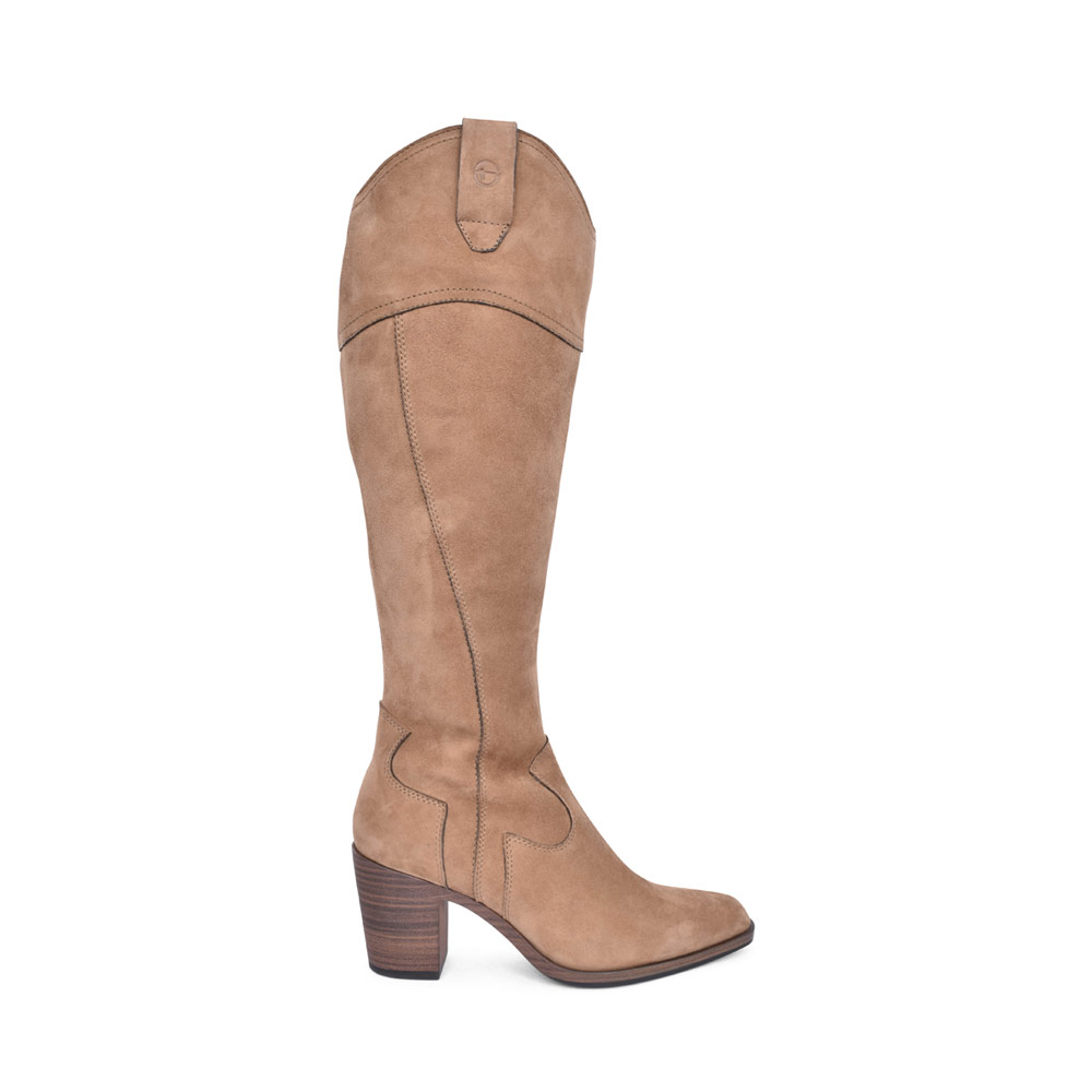 LADIES 1-25546 MEDIUM HEEL LONG LEG BOOT in TAUPE
