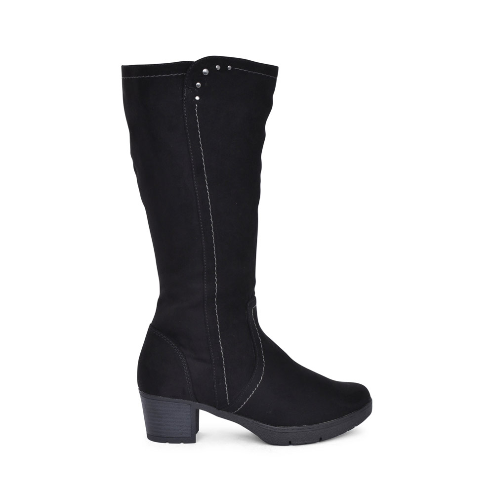 LADIES SOFTLINE 8-25662 MEDIUM HEEL LONG LEG BOOT in BLACK