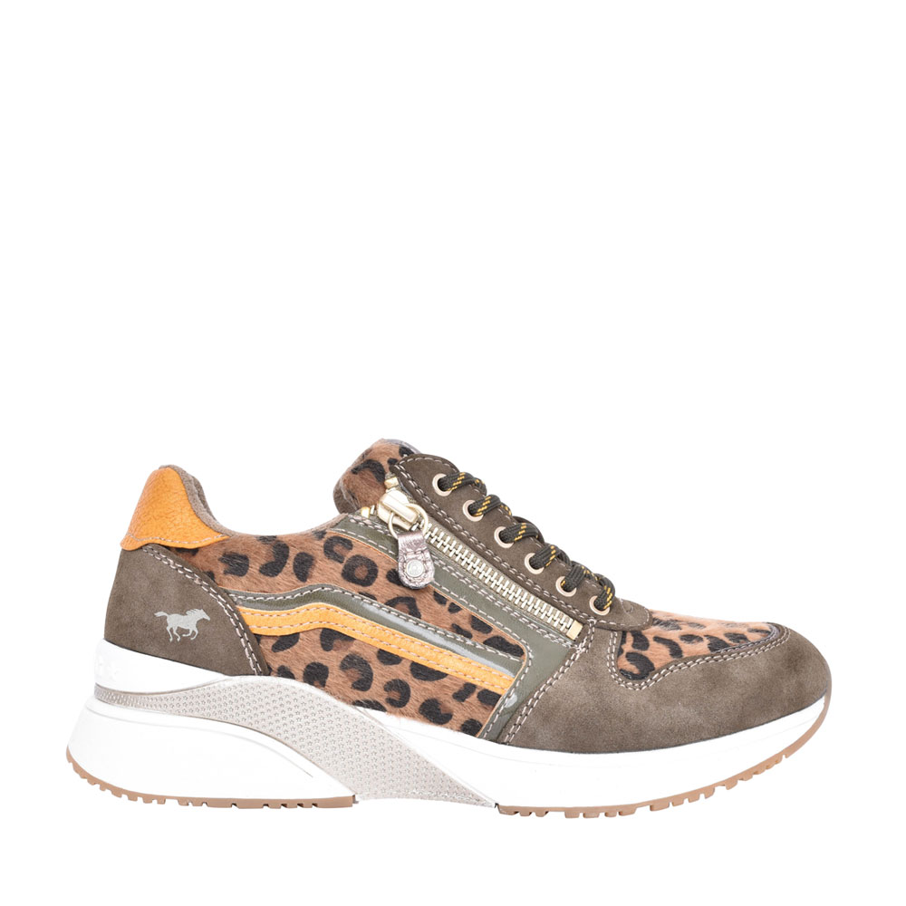 LADIES 1358303 LACED LEOPARD PRINT TRAINER in OLIVE