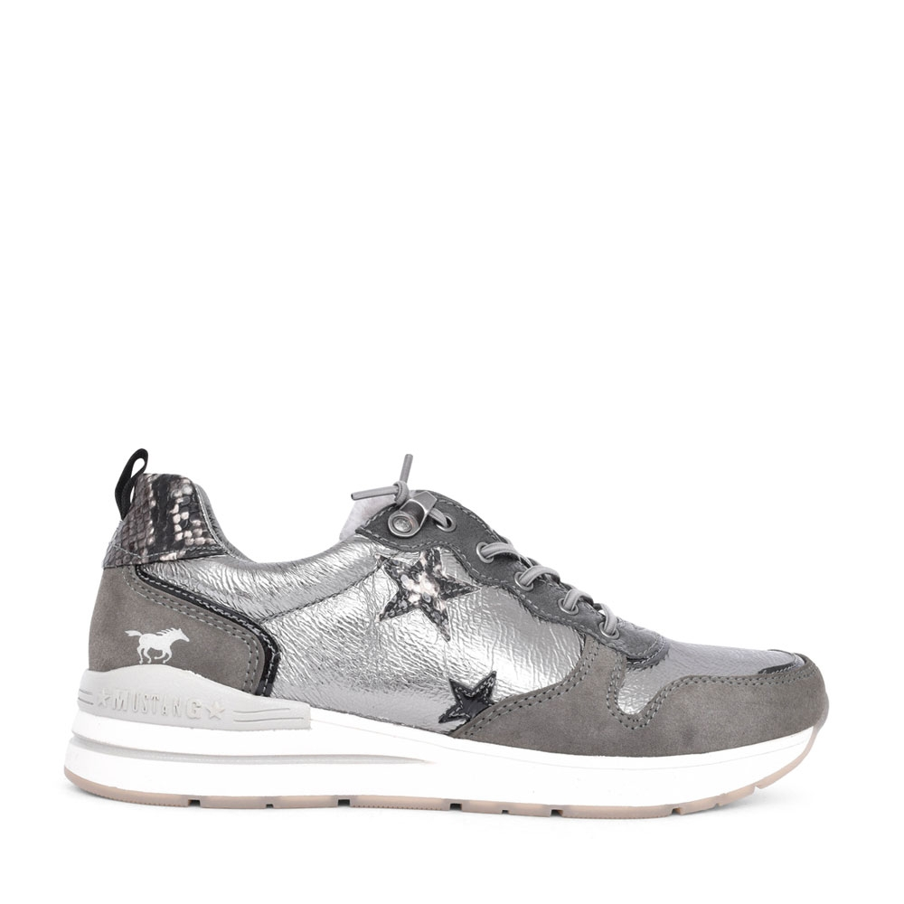 LADIES 1352309 CASUAL LACED TRAINER in GREY