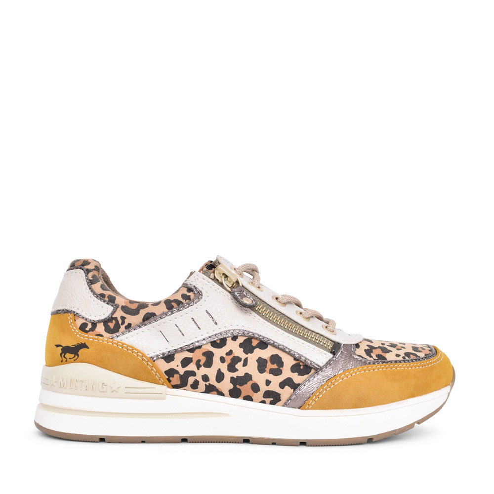 LADIES 1352306 LACED LEOPARD PRINT TRAINER in MUSTARD