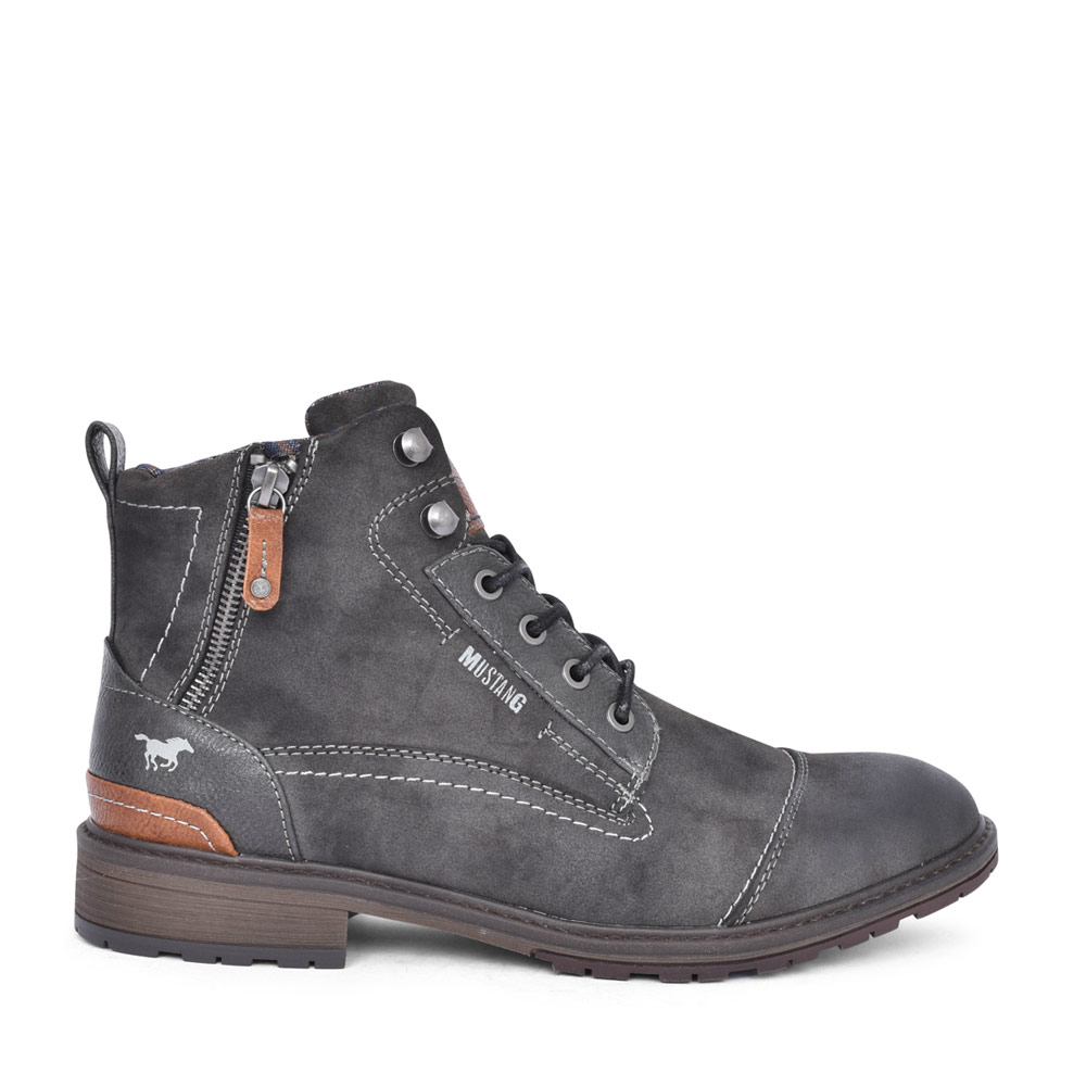 MENS 4140504 LACED ANKLE BOOT in DARK GREY