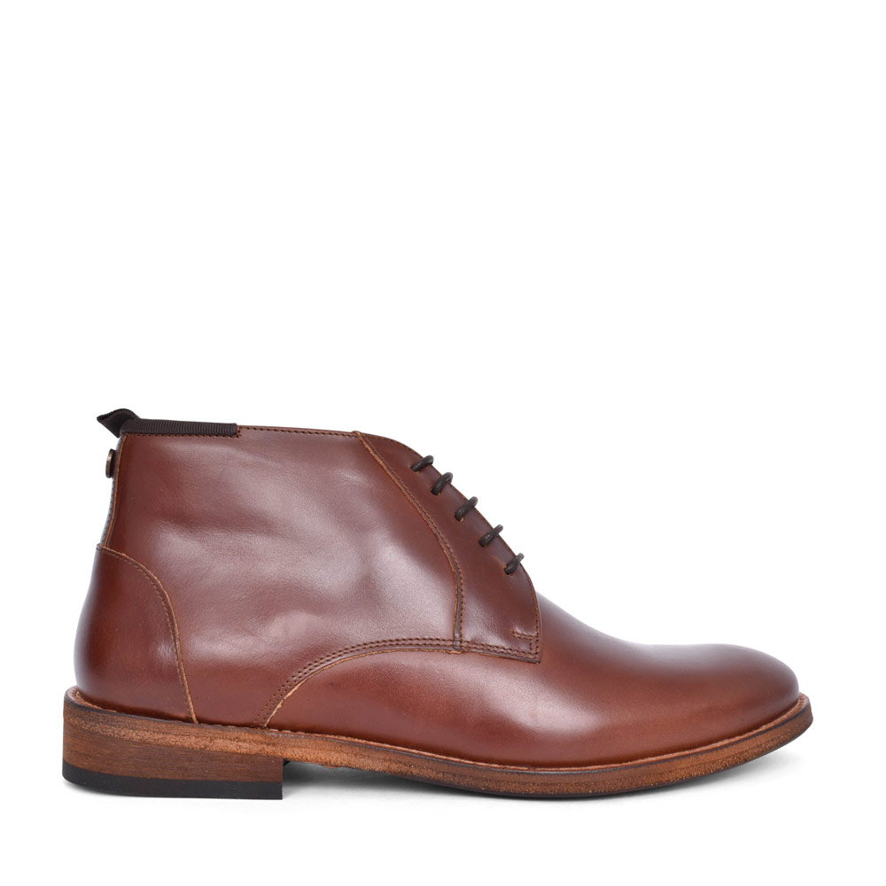 MENS BENWELL LACED LEATHER ANKLE BOOT in BROWN