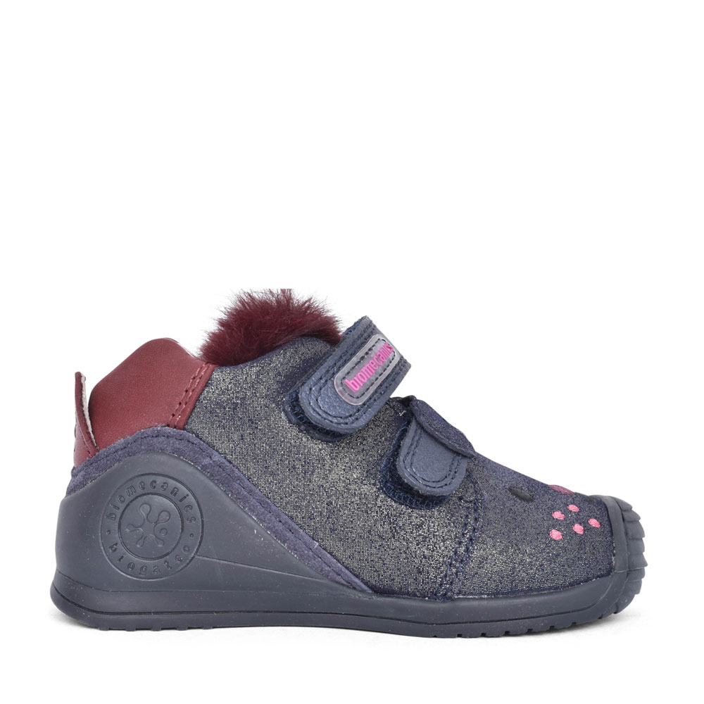 GIRLS 201114 DOUBLE VELCRO LEATHER SHOE in NAVY