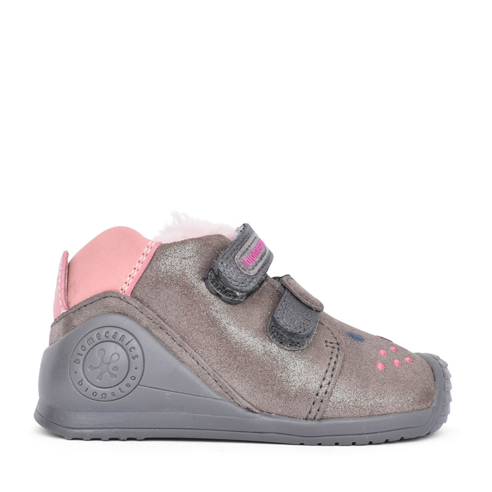 GIRLS 201114 DOUBLE VELCRO LEATHER SHOE in GREY