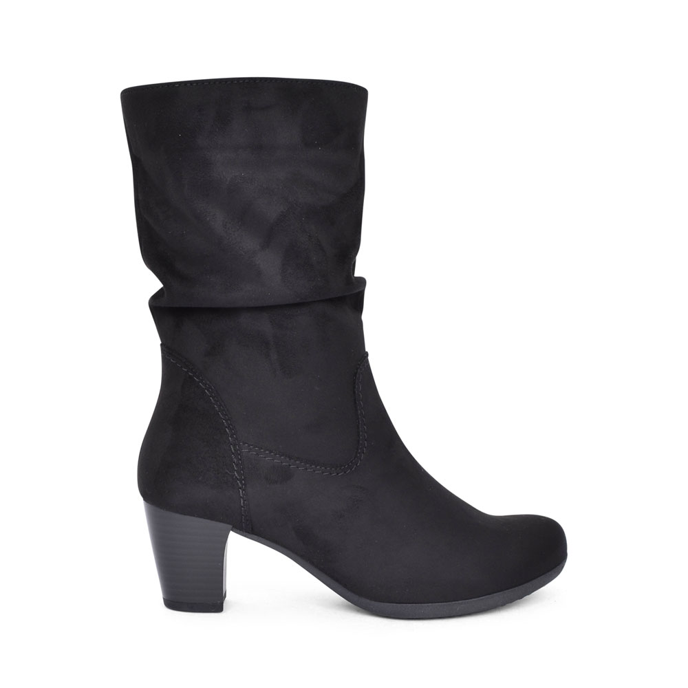 LADIES 55.804 ADELE LOW HEEL RUCHED CALF BOOT in BLACK