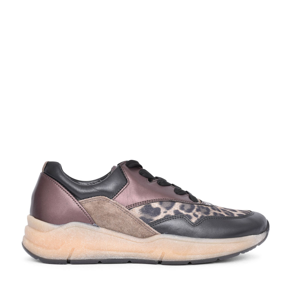 LADIES 56.305 BUNNY LACED LEOPARD PRINT TRAINER in BROWN
