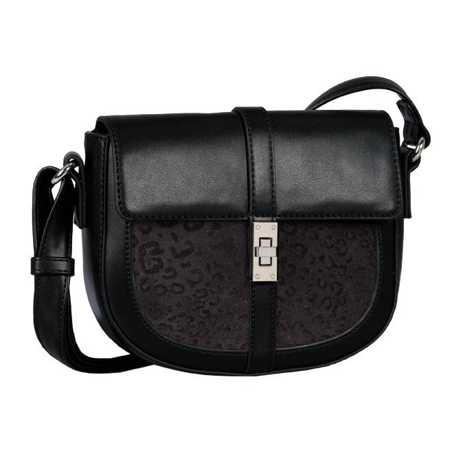 LADIES 8545 LEONITA FLAP BAG in BLACK