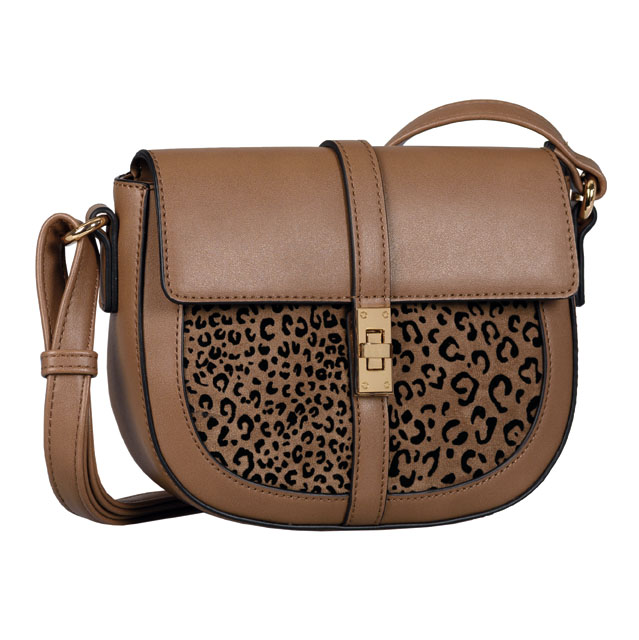 LADIES 8545 LEONITA FLAP BAG in TAUPE