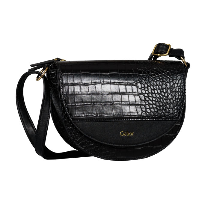 LADIES 8556 JANNE CROC PRINT FLAP BAG in BLACK