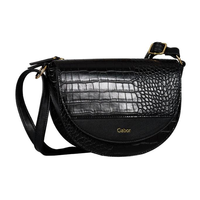 LADIES 8556 JANNE CROC PRINT FLAP BAG in BLACK