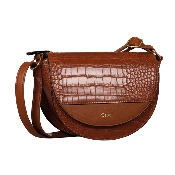 LADIES 8556 JANNE CROC PRINT FLAP BAG in TAN