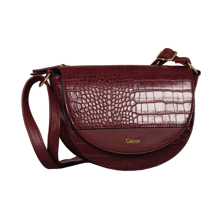 LADIES 8556 JANNE CROC PRINT FLAP BAG in WINE