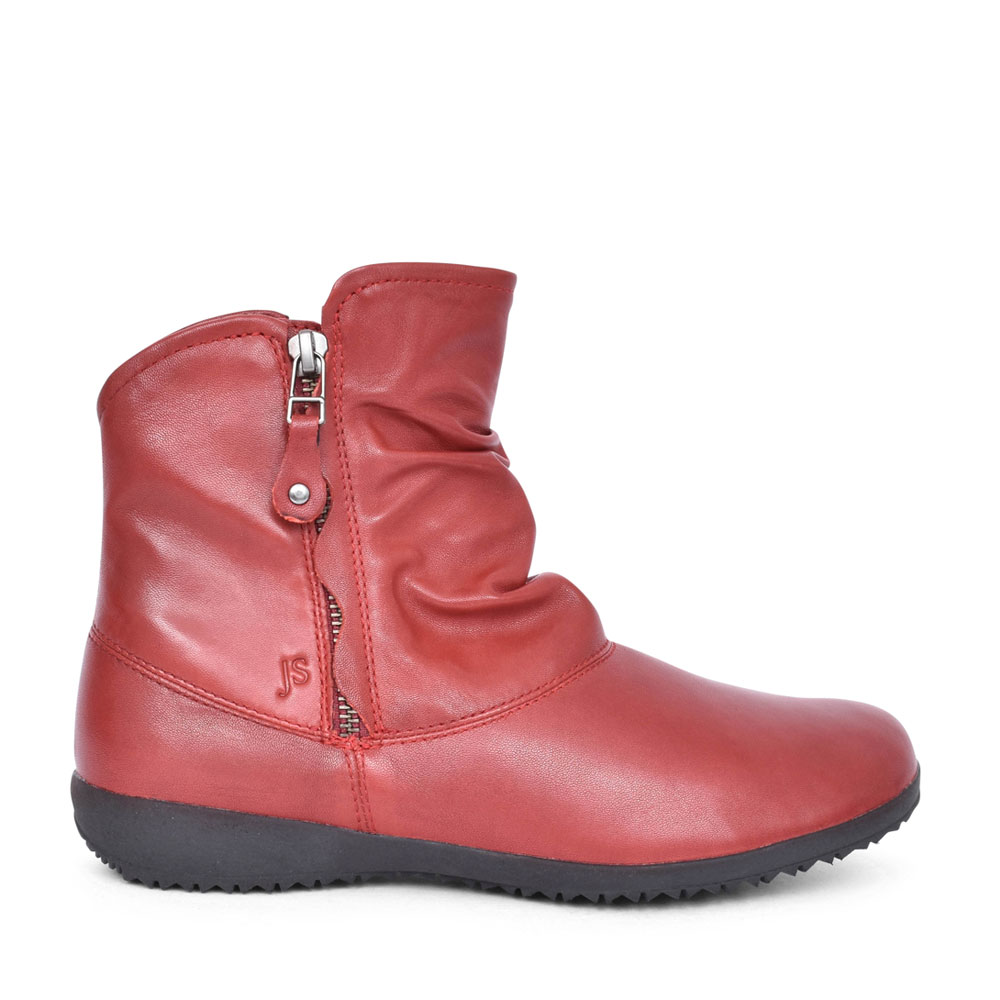 LADIES 79724 NALY 24 RUCHED ANKLE BOOT in RED