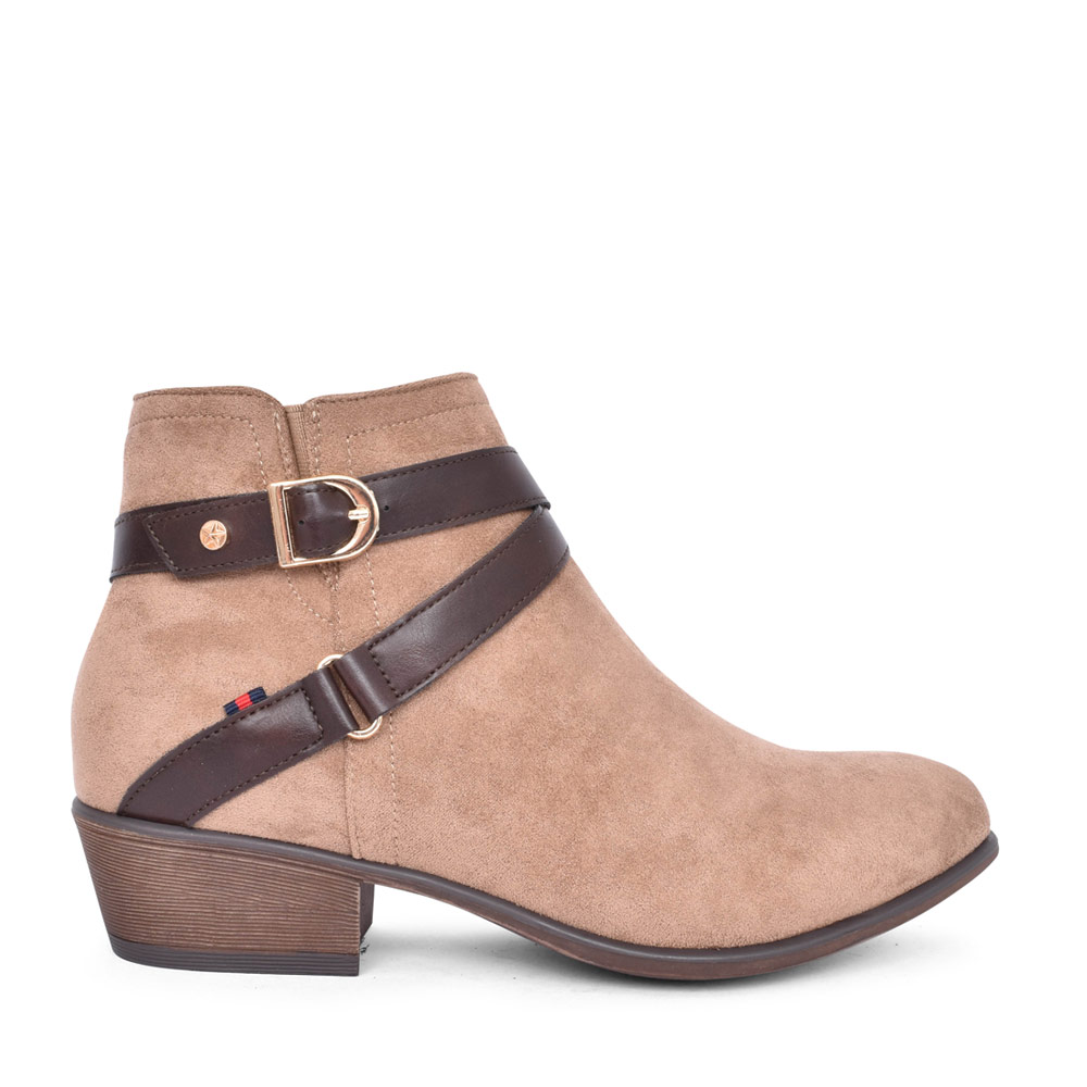 LADIES PLANA LOW HEEL ANKLE BOOT in TAUPE