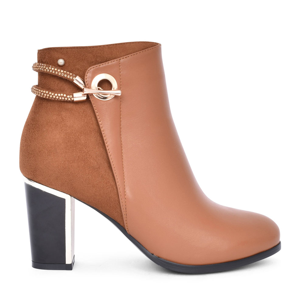 LADIES BEKKA MEDIUM HEEL DIAMANTE TRIM ANKLE BOOT in CARAMEL
