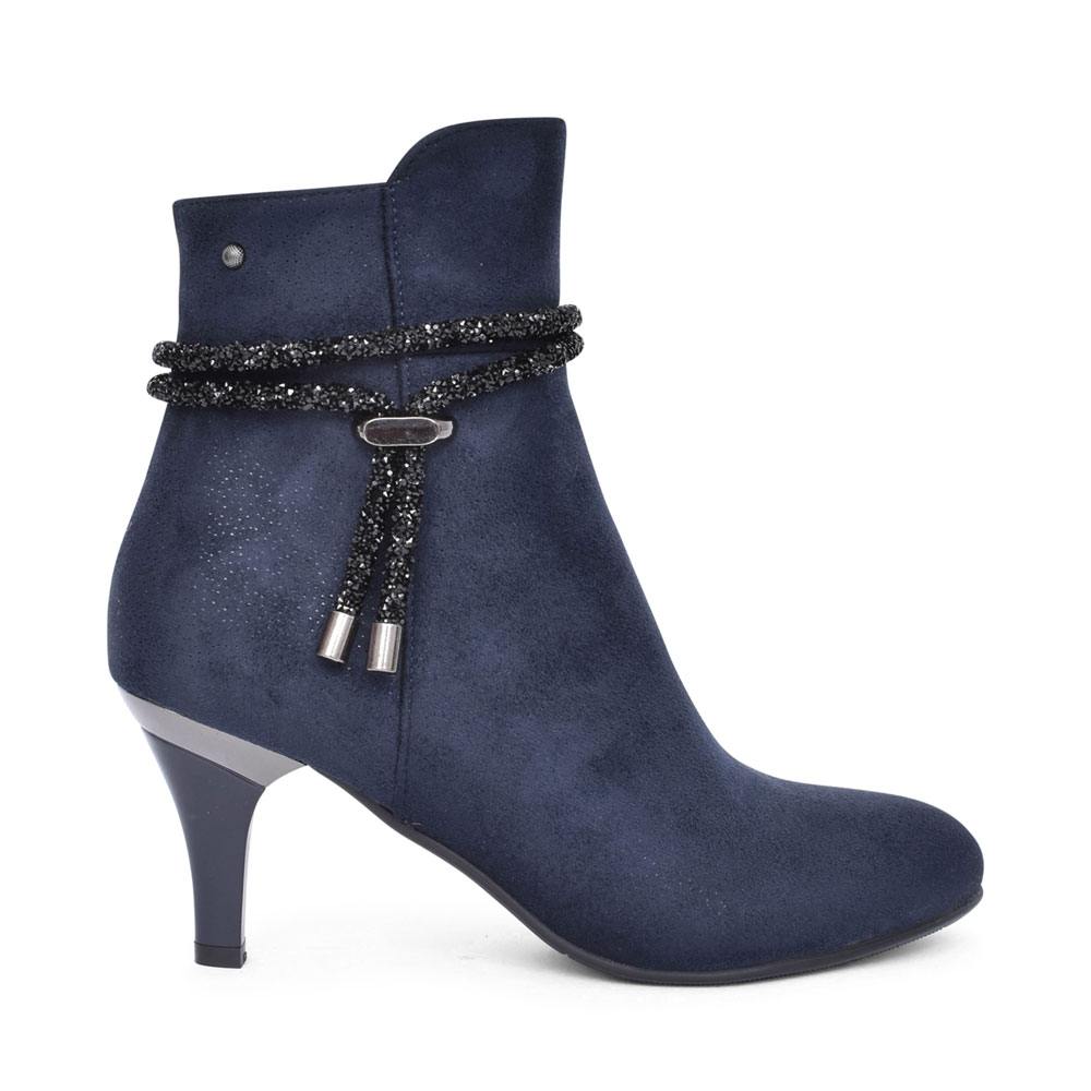 LADIES JADRA MEDIUM HEEL ANKLE BOOT in NAVY