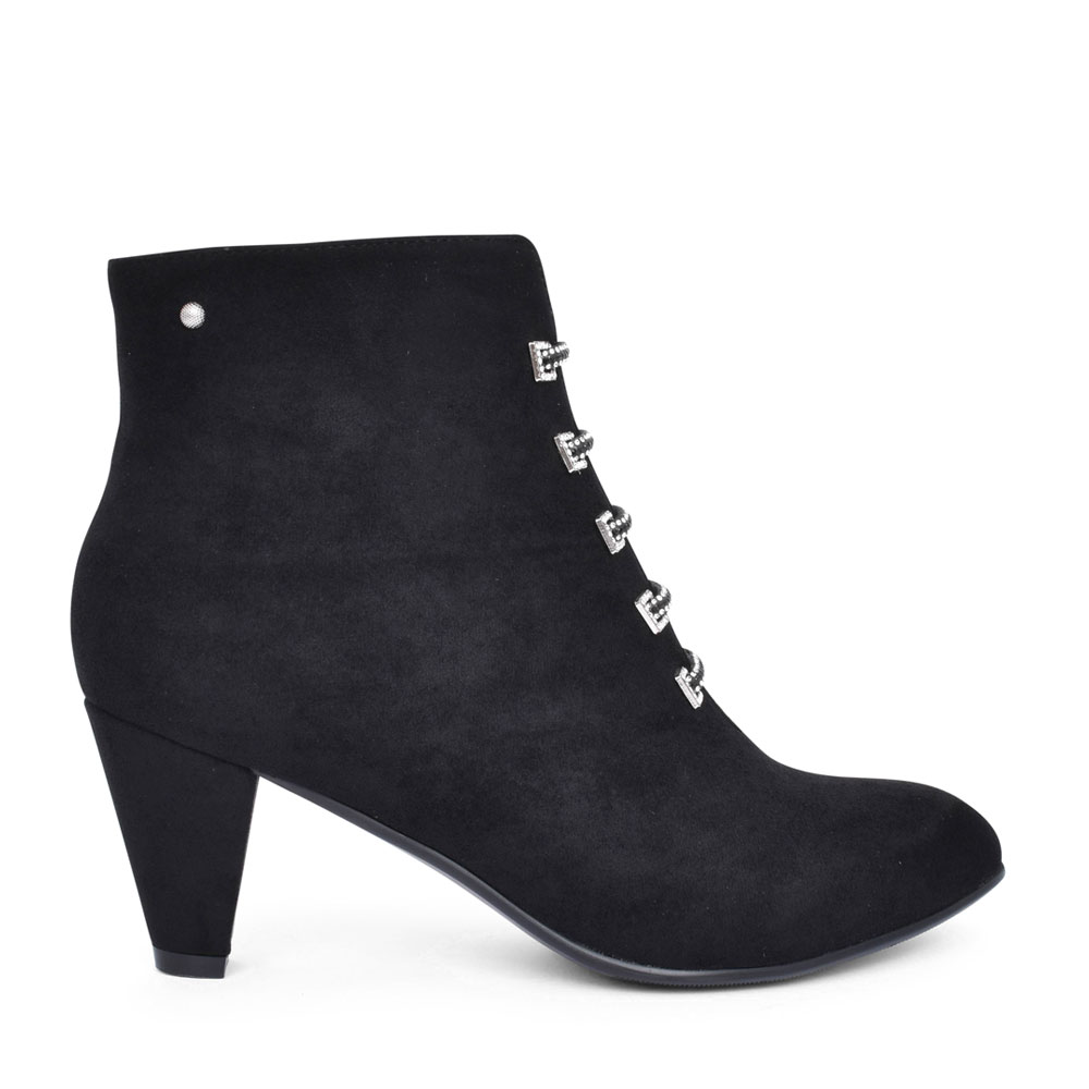 LADIES ZEBOINE MEDIUM HEEL ANKLE BOOT in BLACK