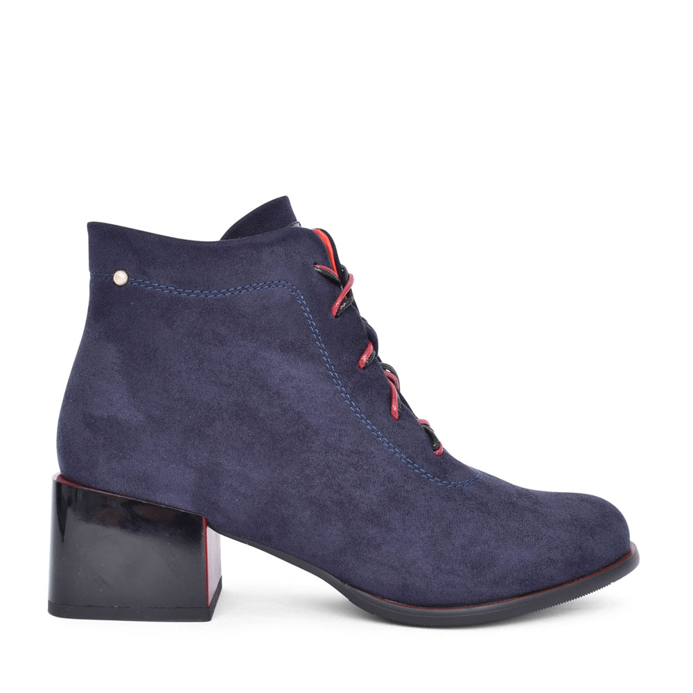 LADIES TARAYA LOW HEEL LACED ANKLE BOOT in NAVY