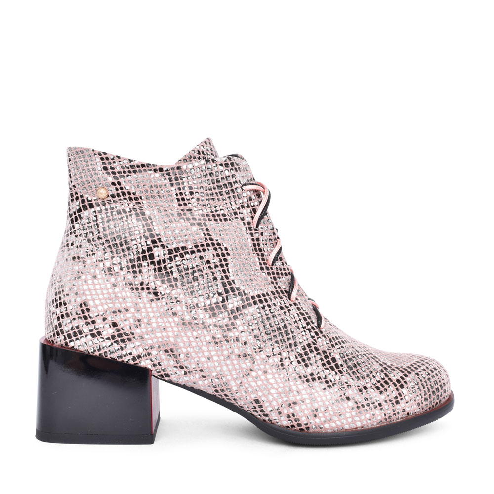 LADIES TARAYA LOW HEEL LACED ANKLE BOOT in SNAKE