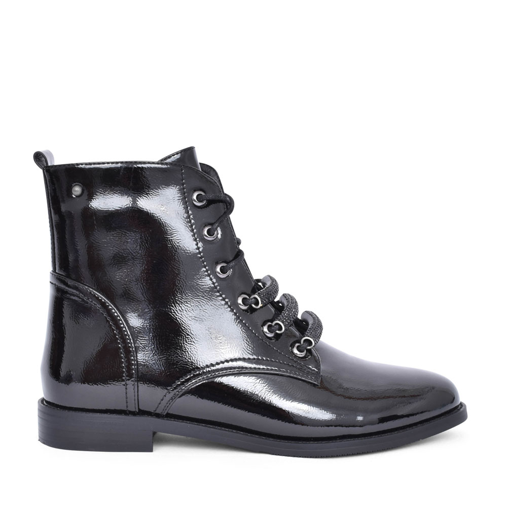 LADIES MUSANDAM LACED PATENT ANKLE BOOT in BLK PATENT