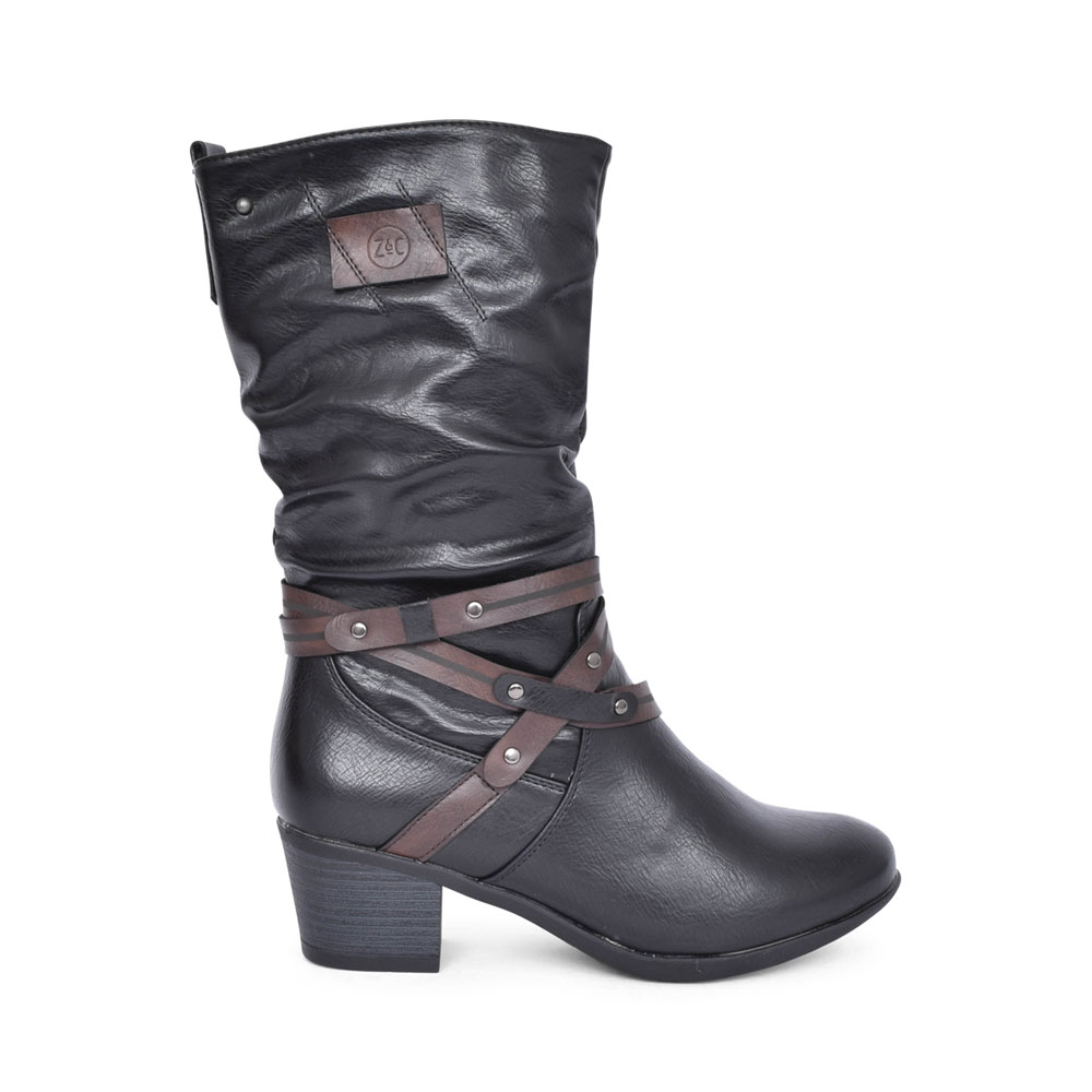 LADIES BEMMA LOW HEEL CALF BOOT in BLACK