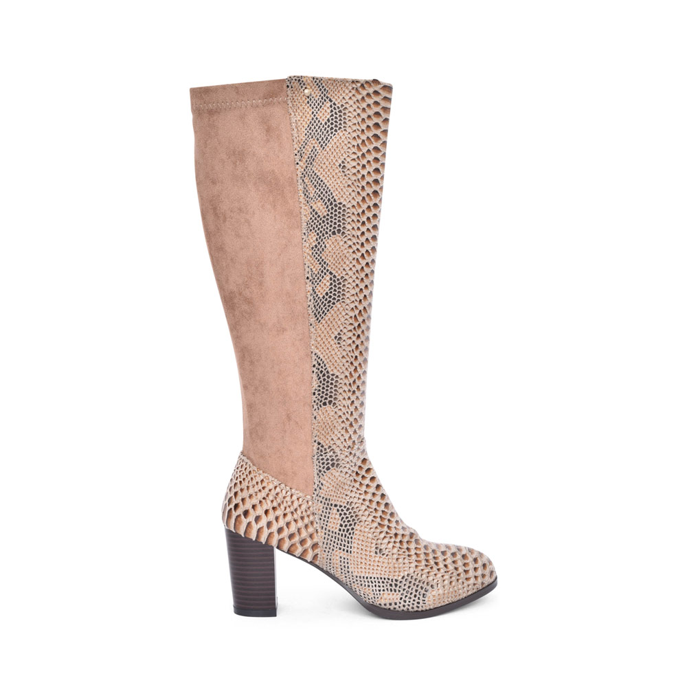 LADIES AKROUM HIGH HEEL LONG LEG BOOT in SNAKE
