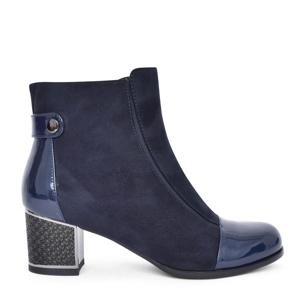 LADIES 7386-A-3A LOW HEEL ANKLE BOOT in NAVY