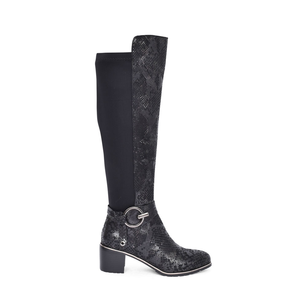 LADIES H371 LOW HEEL LONG LEG BOOT in BLACK