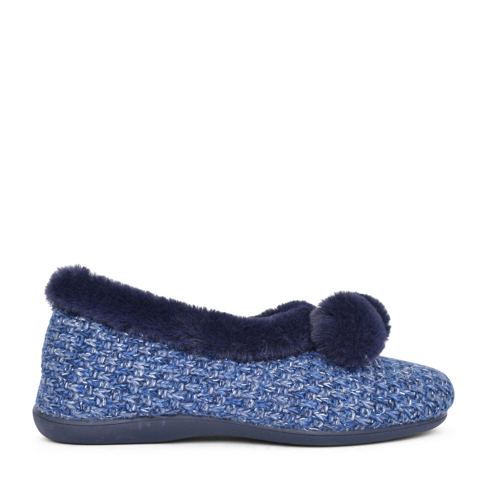 LADIES ALICE ULH037 POM POM MEMORY FOAM SLIPPER in NAVY