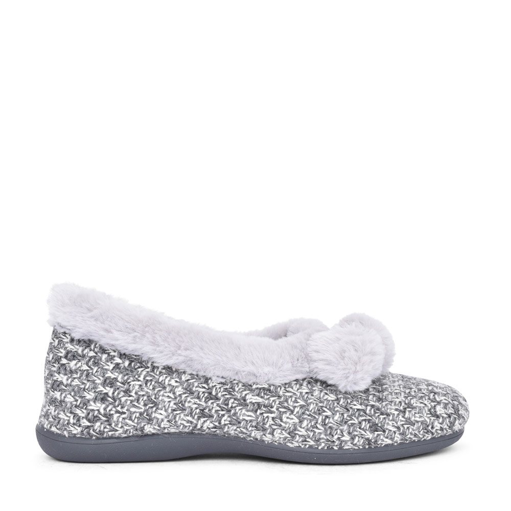 LADIES ALICE ULH037 POM POM MEMORY FOAM SLIPPER in GREY