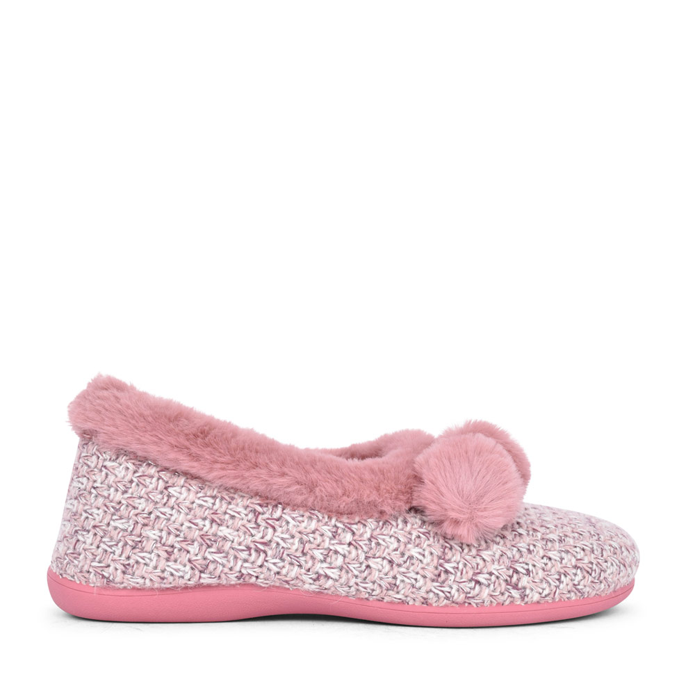 LADIES ALICE ULH037 POM POM MEMORY FOAM SLIPPER in PINK