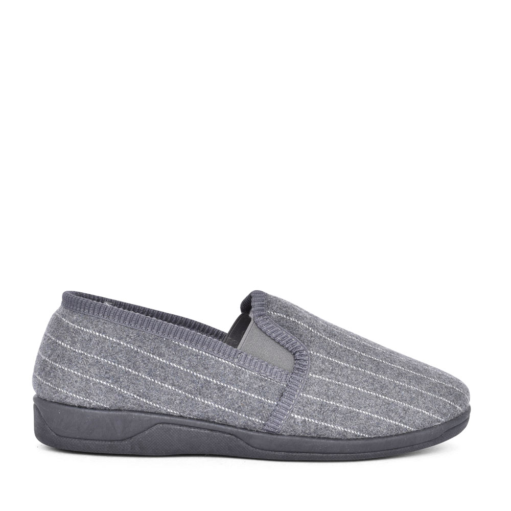 MENS ALFIE UMH017 MEMORY FOAM SLIPPER in GREY