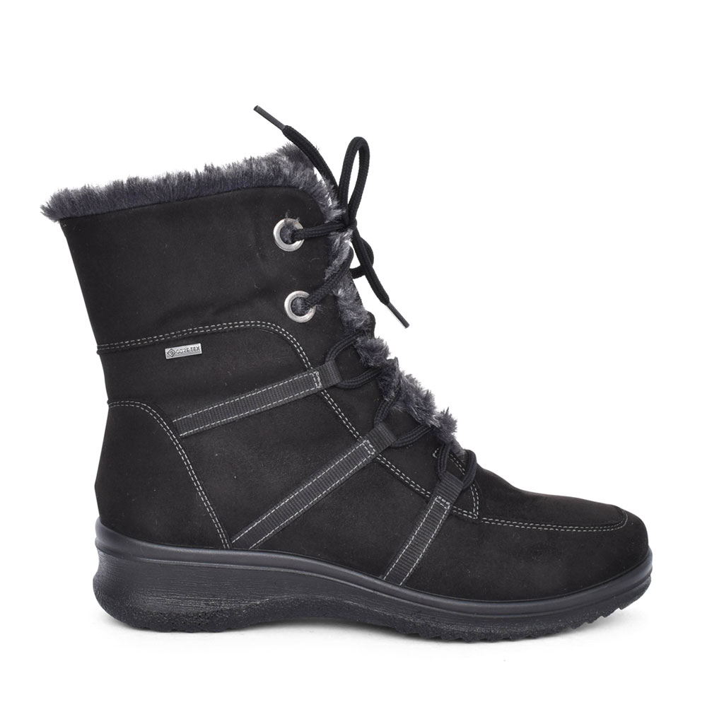 LADIES 12-48554 MUCHEN LACED ANKLE BOOT in BLACK