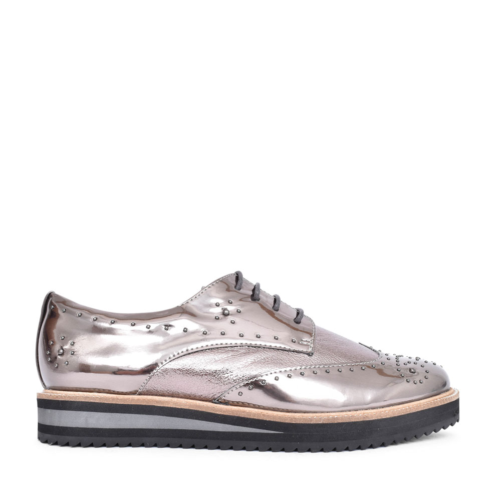 LADIES GISELLA STUDDED BROGUE SHOE  in PEWTER