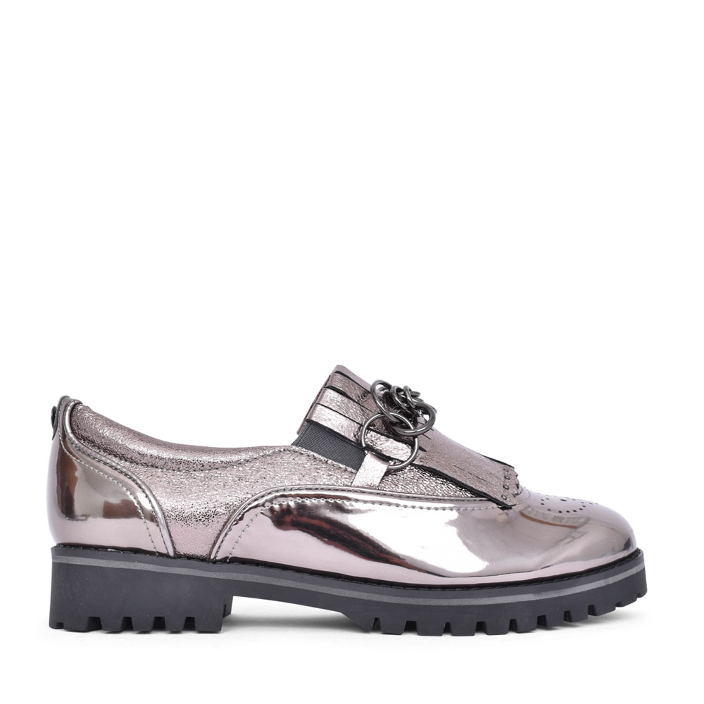 LADIES FERELIA CHAIN TRIM SLIP ON SHOE in PEWTER