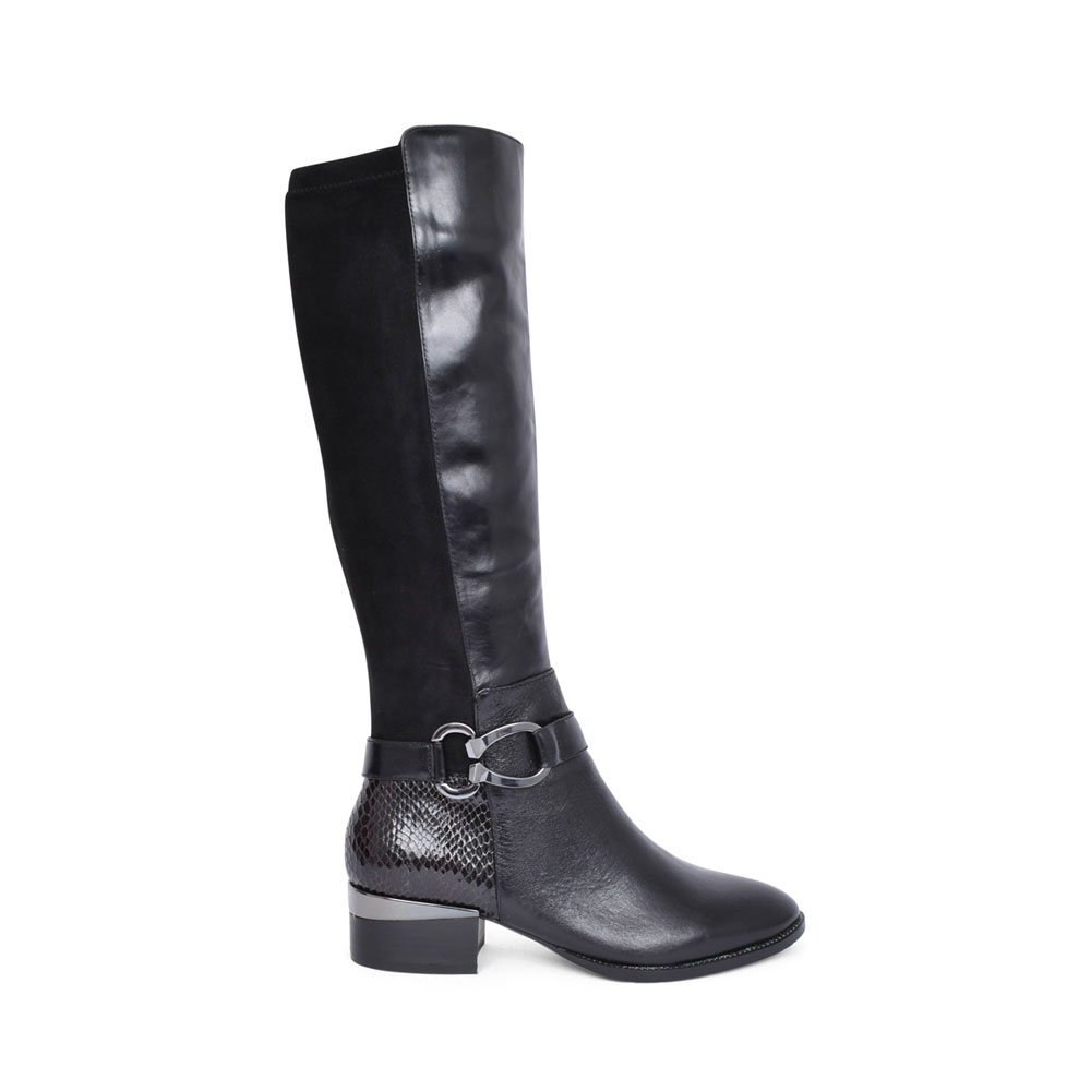 LADIES TATYANNA LOW HEEL LONG LEG BOOT in BLACK