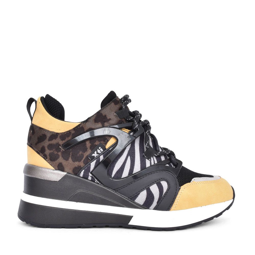 LADIES 44657 LACED ANIMAL PRINT WEDGED HI-TOP in YELLOW