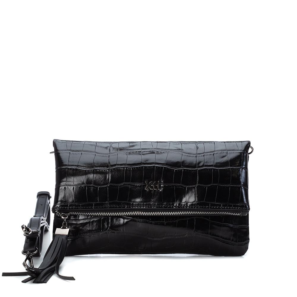 LADIES 86381 FOLDOVER CLUTCH BAG in BLACK