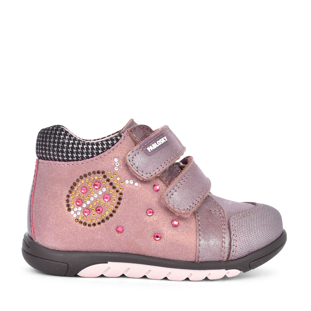LADIES 084160 DOUBLE VELCRO ANKLE BOOT in ROSE
