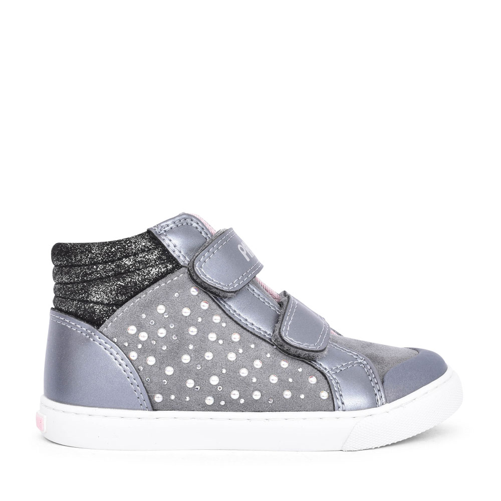 GIRLS 964850 DOUBLE VELCRO ANKLE BOOT in SILVER