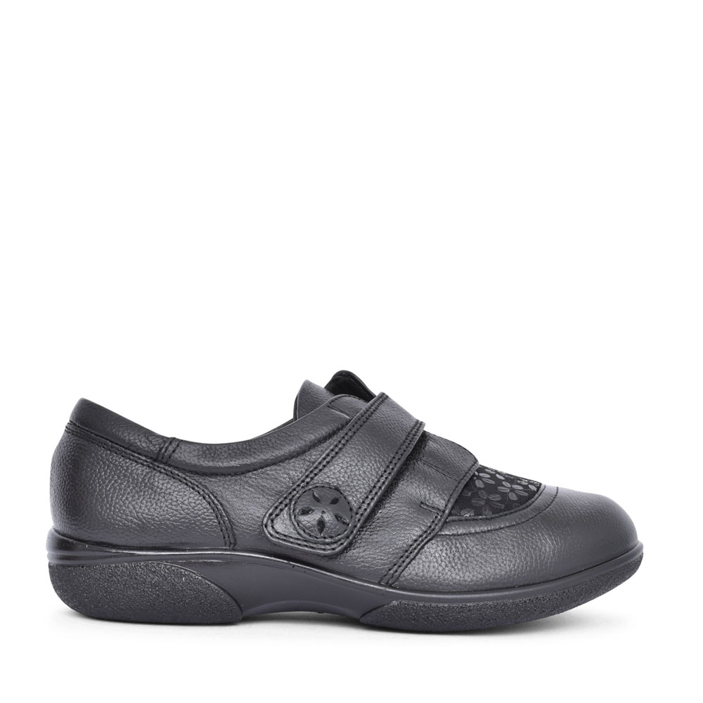 LADIES KESWICK 6V EXTRA WIDE VELCRO SHOE in BLACK